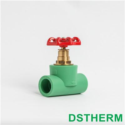Ppr Stop Valve Red Iron Handle Brass color